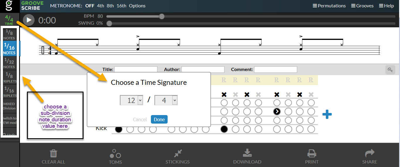 Groove Scribe explained timesig