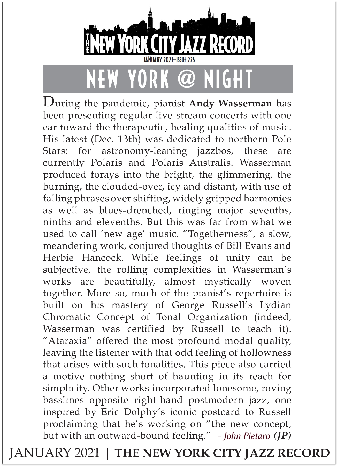NYC Jazz Record Andy Wasserman Review HiRez 300