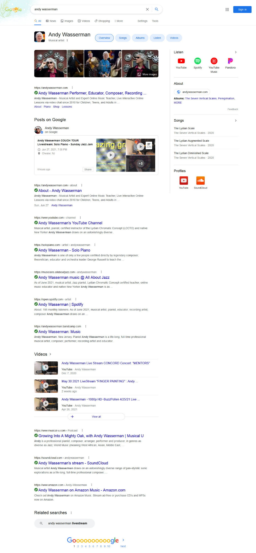 Juin 2021 Google SearchResults FirstPage Andy Wasserman